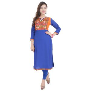 Buy Prakhya Jaipur Embroidered Womens Long Straight Rayon Kurti (code - Sw856blue) online