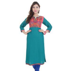 Buy Prakhya Jaipur Embroidered Womens Long Straight Rayon Kurti (code - Sw856green) online