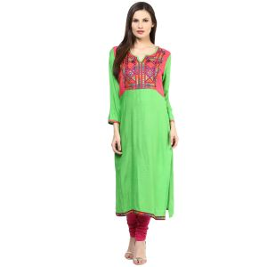 Buy Prakhya Jaipur Embroidered Womens Long Straight Rayon Kurti online