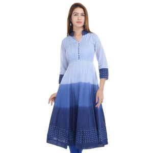 Buy Prakhya Jaipur Solid Womens Long Anarkali Blue Rayon Kurti (code - Sw859blue) online