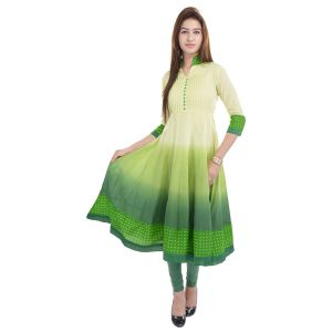 Buy Prakhya Jaipur Solid Womens Long Anarkali Green Rayon Kurti (code - Sw859green) online