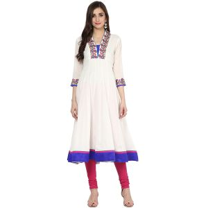 Buy Prakhya Jaipur Embroidered Womens Long Anarkali Blue Cotton Kurti (code - Sw861blue) online