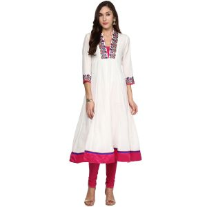 Buy Prakhya Jaipur Embroidered Womens Long Anarkali Pink Cotton Kurti (code - Sw861pink) online