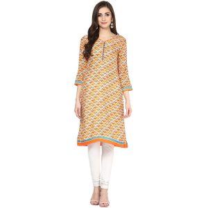 Buy Prakhya Jaipur Printed Womens Long Straight Orange Cotton Kurti (code - Sw864orange) online