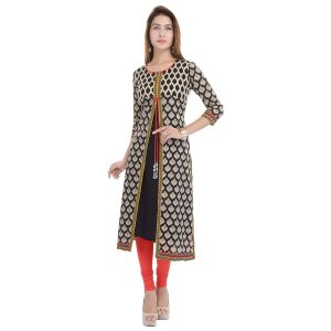 Buy Prakhya Jaipur Printed Womens Long A-Line Yellow Rayon Kurti online