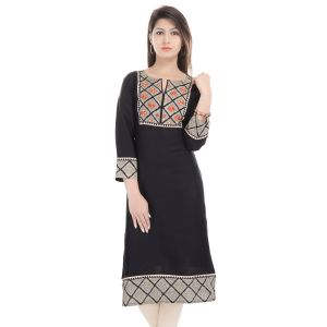 Buy Prakhya Jaipur Printed Womens Long Straight Rayon Kurti online