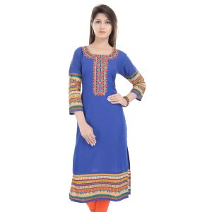 Buy Prakhya Jaipur Embroidered Womens Long Straight Blue Cotton Kurti online