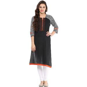 Buy Prakhya Jaipur Printed Womens Long Straight Black-orange Cotton Kurti (code - Sw642blackorange) online
