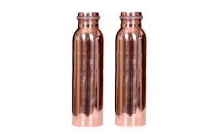 Buy Pure Copper Water Bottle (joint Less) Set Of 2 - 1000 Ml Each online