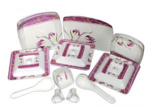 Buy Geeta Diamond Square 44 PCs Melamine Dinner Set Le-gds-006, Multicolor online