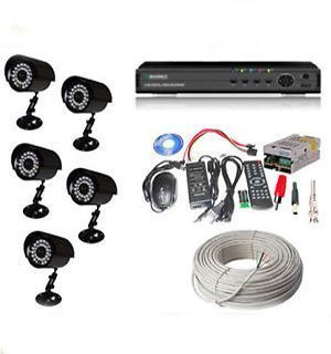 Buy 5 IR Bullet Cctv Camera 8 Channel Dvr All Required Connector 60mtr N More online