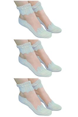 Buy Visach Women's Cotton Blue Embroidered Socks (pack Of 3) (code - Vs_3blu) online