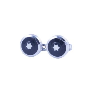 Buy Visach Silver-toned Black Cufflink For Men online