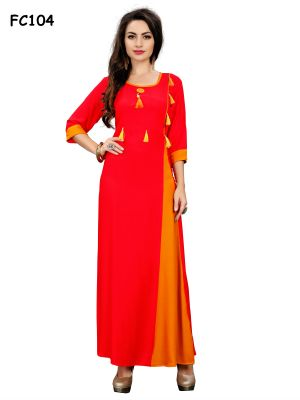 Buy New Reyon Orange Color Designer Kurti (code-fc104-s) online