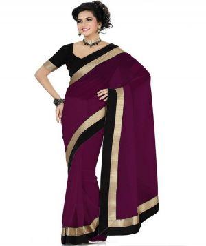 Buy Ravechi's Women Chiffon Purple Colour Lace Broder Work Designer Saree-rfs063 online