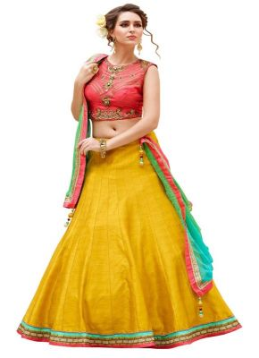 Buy Whatshop Designer Banglori Silk Peach And Yellow Colour Embroidered Lehegha Choli online