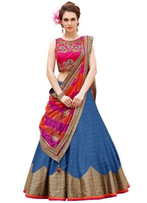 Buy Meet New Pink And Blue Baglori Silk Lehenga Choli Vlen158-1004-blue online