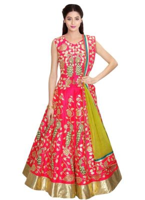 Buy Kreckon Heavy Embroidered Pink And Green Lehenga Choli Kzl-09 online