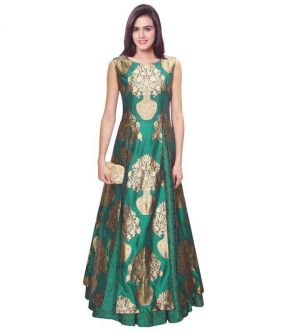 Buy Fabliva Rama Green Embroidered Russal Net Lehenga online