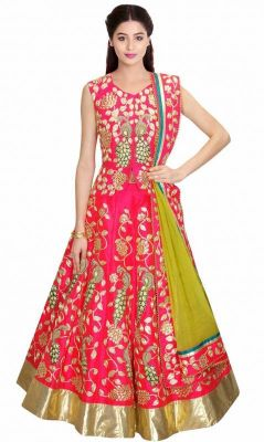 Buy Thankar Pink & Multi Embroidered Banarasi Silk Lehenga online