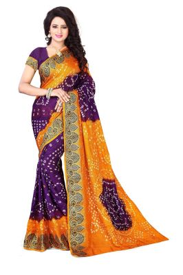 Buy Purple And Yellow Color Designer Bandhani Saree online