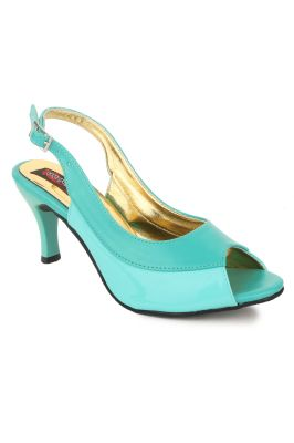 Buy Naisha Women's Synthetic Leather Green Heeled Sandals (code - Sc-ma-297-green) online