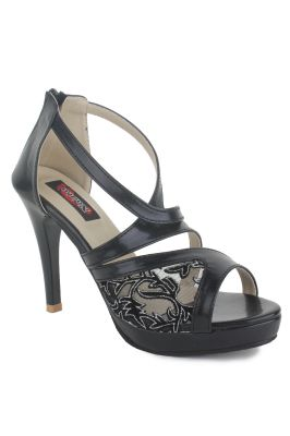 Buy Naisha Women's Synthetic Leather Black Heeled Sandals (code - Sc-ma-407-black) online
