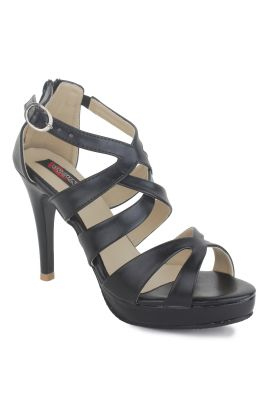 Buy Naisha Women's Synthetic Leather Black Heeled Sandals (code - Sc-ma-411-black) online