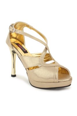 Buy Naisha Women's Synthetic Leather Gold Heeled Sandals (code - Sc-ma-415-gold) online