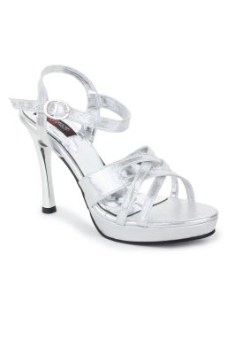 Buy Naisha Women's Synthetic Leather Silver Heeled Sandals (code - Sc-ma-417-silver) online