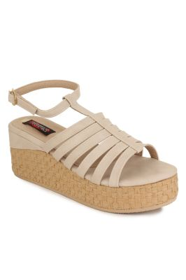 Buy Naisha Women's Synthetic Leather Beige Platform Sandals (code - Sc-ma-b-1304-beige) online