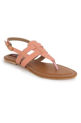 Buy Naisha Women's Synthetic Leather Pink Flat Sandals (code - Sc-mk-16-pink) online