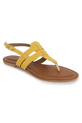 Buy Naisha Women's Synthetic Leather Yellow Flat Sandals (code - Sc-mk-16-yellow) online