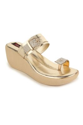 Buy Naisha Women's Synthetic Leather Gold Platform Slippers (code - Sc-nk-299-gold) online