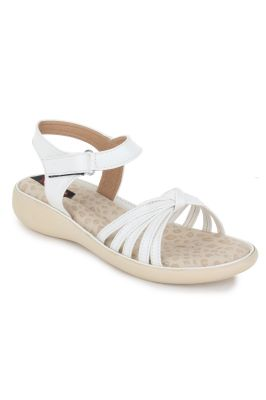 Buy Naisha Women's Synthetic Leather White Flat Sandals (code - Sc-nk-300-white) online