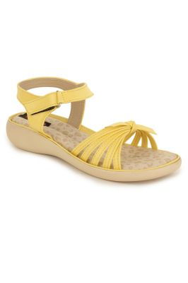 Buy Naisha Women's Synthetic Leather Yellow Flat Sandals (code - Sc-nk-300-yellow) online