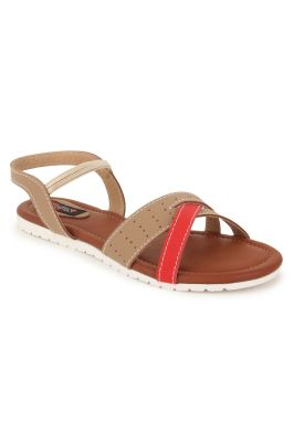 Buy Naisha Women's Synthetic Leather Beige Flat Sandals (code - Sc-nk-304-beige) online