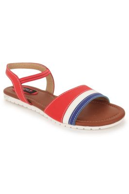Buy Naisha Women's Synthetic Leather Red Flat Sandals (code - Sc-nk-305-red) online