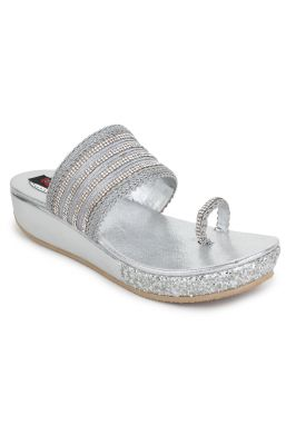 Buy Naisha Women's Synthetic Leather Silver Platform Slippers (code - Sc-pt-182-silver) online