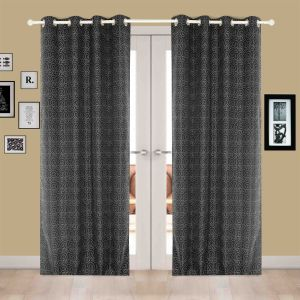 Buy Door Curtain Jacquard Geometric Design Silver online