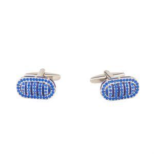 Buy Dapper Homme Self Design Blue Color Cufflinks For Men online