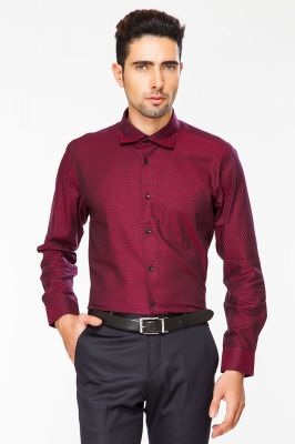 Buy Dapper Homme Red Color Egyptian Cotton Regular Fit Shirt For Men online