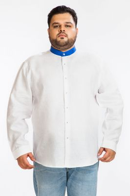 Buy Dapper Homme White Color Egyptian Cotton Plus Sized Shirt For Men online
