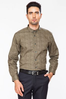 Buy Dapper Homme Brown Color Egyptian Cotton Regular Fit Shirt For Men online