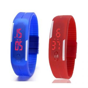 Buy Mango People Silicone Rectangular Boys Digital Wrist Watch Band Style Led Pack Of 2 online
