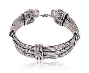 Buy Sanaa Creations Silver Oxidised Bracelet For Men Online Best