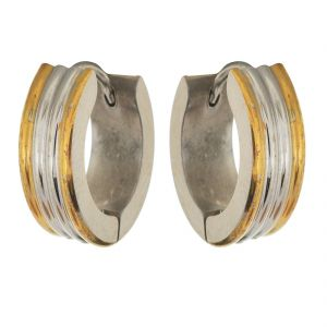 Buy Sanaa Creations Gold And Silver Alloy Hoop Earrings For Men online