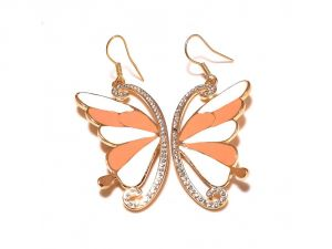 Sanaa Creations Studded With Cz Erfly Shape Cream Peach Color Ennameling Gold Plated Earring Online Best Prices In India Rediff Ping