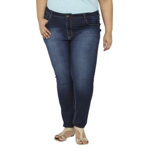 Buy Zush Mid Rise Regular Fit Blue Color Cotton Blend Plus Sized Jeans For Womens Zu1023 online