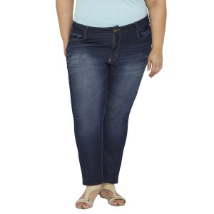Buy Zush Mid Rise Regular Fit Light Blue Color Cotton Blend Plus Sized Jeans For Womens Zu1024 online